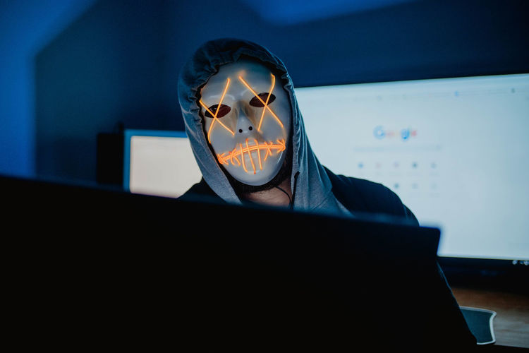 Hacker Computer Keyboard Screen Mouse Camera Anonymous Anonymous Mask Setup Week On Eyeem Getty Images Premium Collection Stockphoto Stockphotography Sarajevo Indoors  Night Neon Neon Lights Blue Laptop Typing Horror Scary Urban Modern