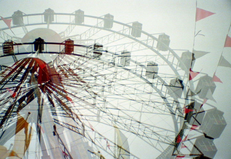 Analogue Photography Attraction Big Wheel Dippemess Double Exposure Ferris Wheel Film Flags Frankfurt Fun Fun Fair Ride So Nice I Did It Twice Two Is Better Than One