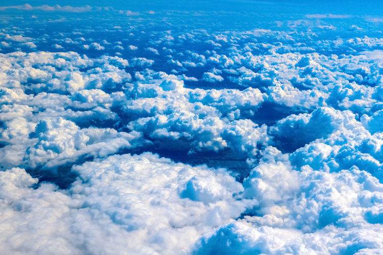 Above Aerial View Backgrounds Beauty In Nature Blue Cloud - Sky Cloudscape Cumulus Cumulus Cloud Day Environment Fluffy Full Frame Heaven High Up Majestic Meteorology Nature Outdoors Scenics Sky Softness The Natural World Tranquil Scene Tranquility
