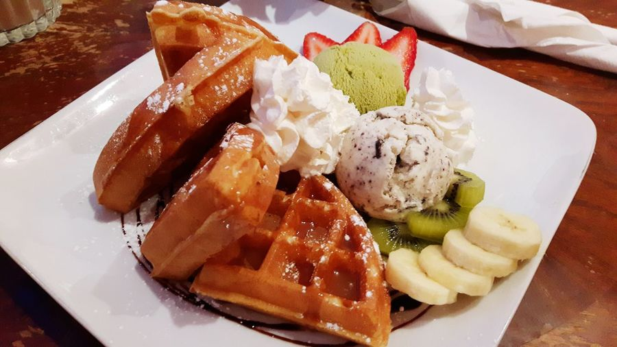 Dessert is served Ice Cream Waffle Time Waffle Ice Cream And Waffles Fruits Green Tea Ice Cream Cookies And Cream Icecream Food Food Photography Dessert Dessert Time Delicious