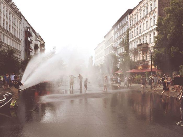 Summer2015 Happy People Firefighters Water Fountain Enjoying The Sun My Fuckin Berlin SundayFunday Soaking Up The Sun
