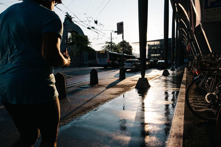 Jogging Streetphotography Fujixh1 Luzern Switzerland Water City Men Wet Silhouette Sky