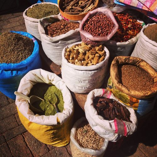 Morocco Tangier Africa Choice Day Food Food And Drink For Sale Freshness Healthy Eating Herb Herbal Medicine Ingredient Market Marketplace Multi Colored Nature No People Outdoors Retail  Sack Small Business Spice Spices
