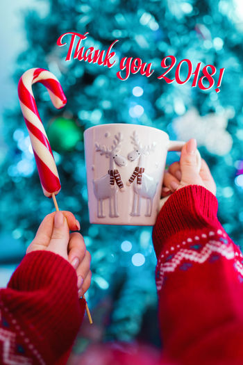 Girl holding cup with deers of tea or cocoa and lollipop on Christmas tree background Human Hand Hand Holding One Person Human Body Part Red Real People Personal Perspective Text Celebration Close-up Focus On Foreground Unrecognizable Person Food And Drink Lifestyles Candy Sweet Human Finger Sweet Food Finger Temptation Nail