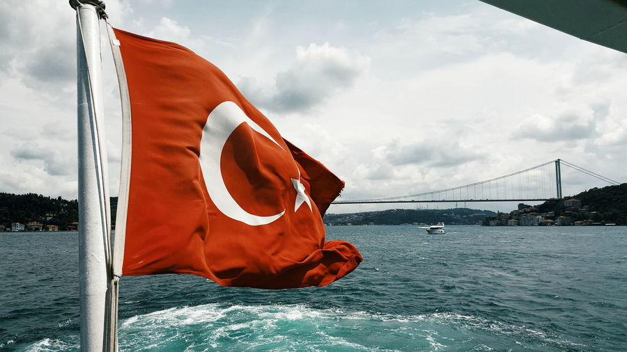 Turkish flag and bosphorus bridge