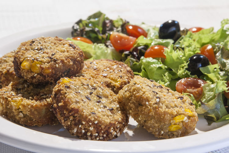Close-Up Of Vegan Nuggets And Salad