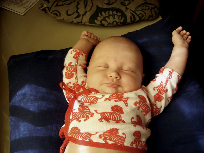 Young baby girl sleeping with her arms above her head. Baby Babyhood Child Childhood Cute Innocence One Person Sleeping Toddler