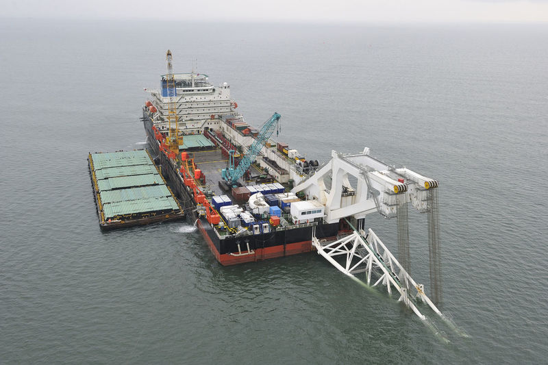 High angle view of oil drill in sea