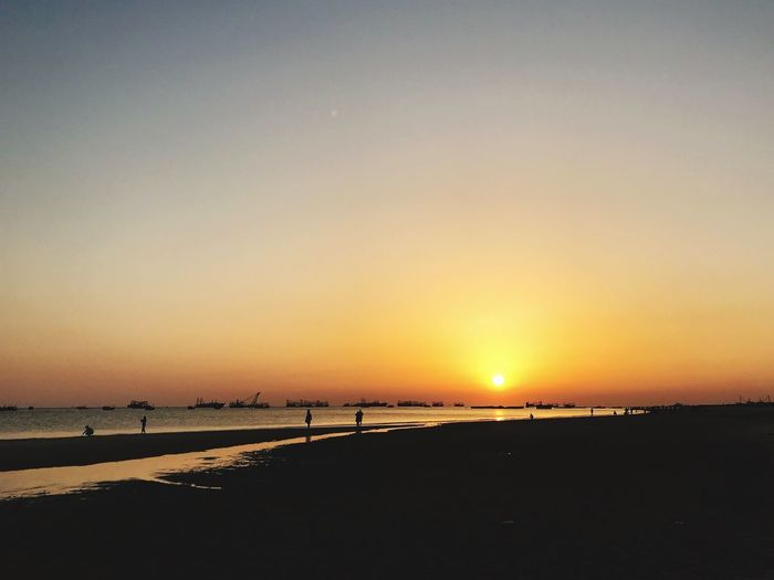 Sunset Sky Water Scenics - Nature Sea Beauty In Nature Tranquility Beach Orange Color Sun