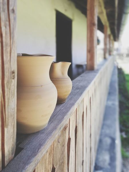 Architecture No People Outdoors Wood - Material Architectural Column Wooden Fence Claypots Claywork Heritagebuilding Old House Farmhouse Handcraft