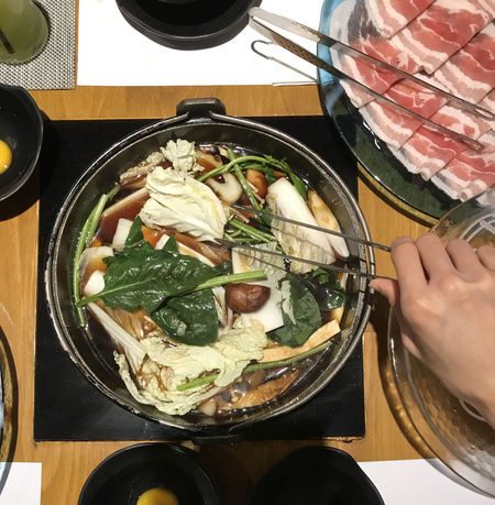 Beef Meal Pork Stove Boiling Clamp Delicious Egg Food Food And Drink Hand Healthy Eating Hot Pot Human Hand Induction Cooker Japanese Food Meat Pot Shabu Shabu Soup Sukiyaki Table Tasty Vegetable Water