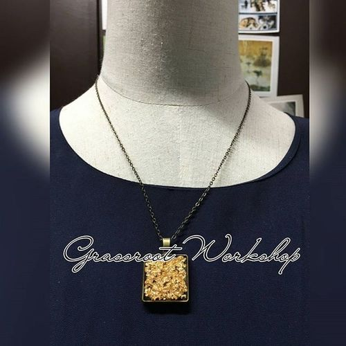 日本 UV  滴膠 古銅頸鏈 全長 22寸 HKD150.00 accessories necklace diy japan uv resin gift festival onlineshop hongkongshop 手作 頸鏈 網店 香港店 工作室 workshop 節日 禮物