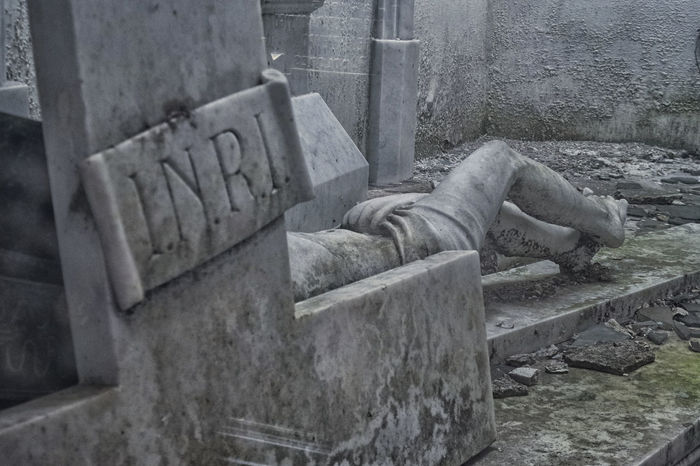 Broken Cemetery Cross INRI Jesus Old Sculpture Statue Stone
