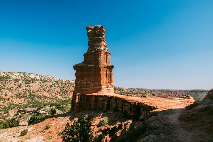 Sky Nature Scenics - Nature Rock Formation Travel Destinations Beauty In Nature Clear Sky Tranquil Scene Day No People Blue Tranquility Rock Travel Non-urban Scene Rock - Object Sunlight Solid Physical Geography Mountain Outdoors Eroded Palo Duro Canyon, TX