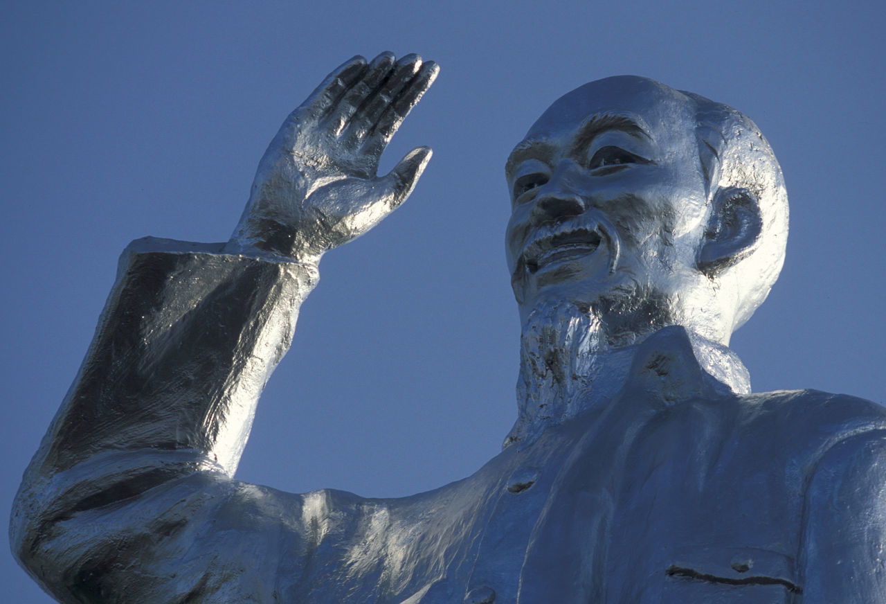 Low Angle View Of Ho Chi Minh Statue Against Clear Blue Sky