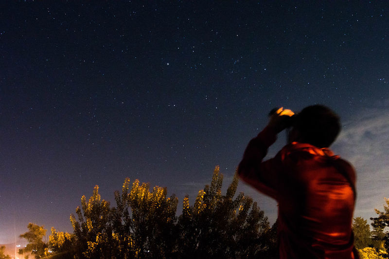 Rear View Of Man Photographing Against Sky At Night