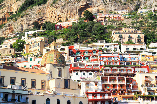 Bildings Blue Boats Italy Photo Photpgrapher Positano Red Reflection Sky Trvelling Water Weater