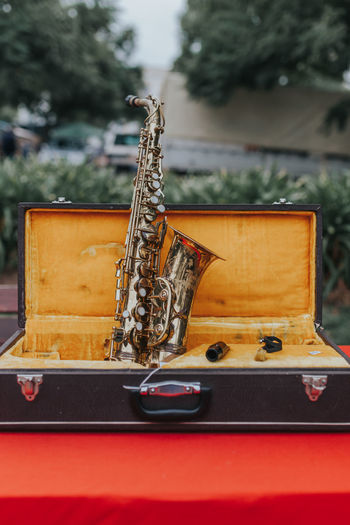 Close-Up Of Saxophone In Bag