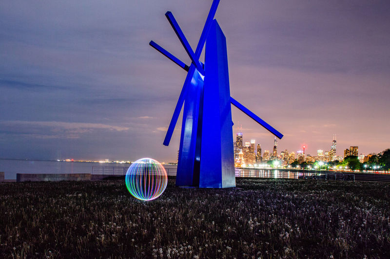 Night Light Painting Spin Orb Long Exposure Monument Beach Lakefront Windmill Wind Power Wind Turbine Blue Alternative Energy Illuminated Sky
