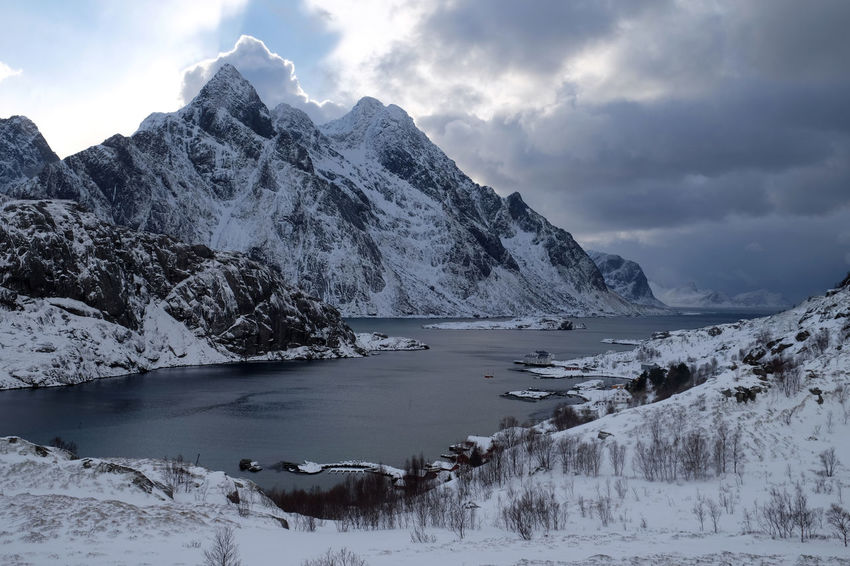 EyeEm Best Shots EyeEm Nature Lover Landscape_Collection Norway Beauty In Nature Cloud - Sky Cold Temperature Frozen Ice Landscape Landscape_photography Lofoten Mountain Mountain Range Nature No People Outdoors Scenics Snow Snowcapped Mountain Tranquil Scene Tranquility Weather Winter