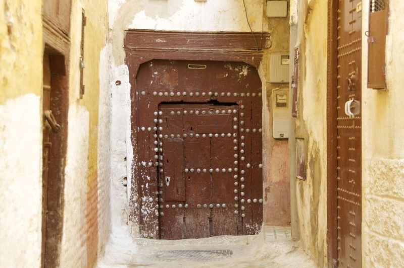 Meknes, Morocco. Meknès Morocco MoroccoTrip North Africa Africa Architecture Building Building Exterior Built Structure Day Door Entrance Meknès City Old The Way Forward Weathered Wood - Material