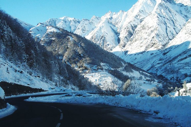 Pyrenees Haute-Pyrenees Road Landscape Blue Snow Covered Coldness Cold Winter ❄⛄ Snow Capped Mountain Virage Virages Enneigé Froid In Bagneres-de-Bigore
