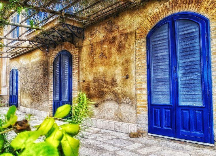 Multi Colored Window Blue Architecture Built Structure Building Exterior Closed Door