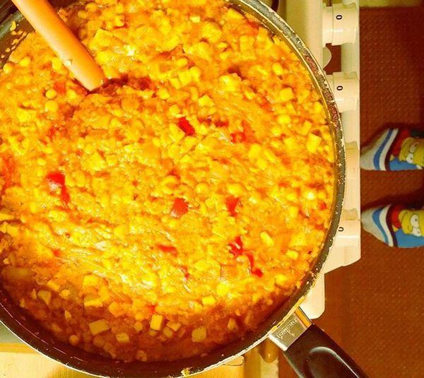 Dnesjem Dinner Veganfoodporn ExtraChilli Simpsons BART Tofu Cuscus Peppers Garlic EatHealthy Vegan Chilli Simpsonsocks Tomatosauce Turmeric  Cooking Homechef Easyfood Fastfood Spicyfood Zdravastrava Dnesvarim Instafood Yummy