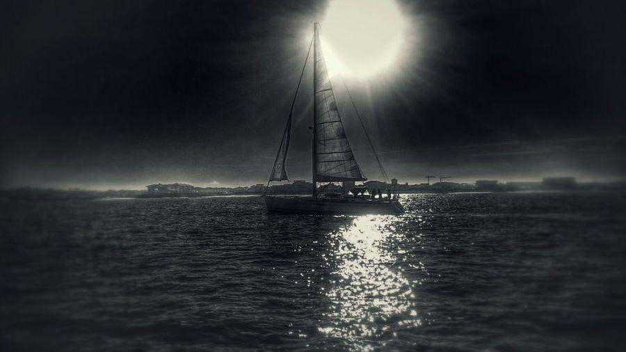 Wind Boats⛵️ Ocean Sun Blackandwhite Photography Sunlight Ocean View Sea And Sky Sea Capbreton Beach Capbreton In Capbreton Sailboat Sailing Going Sailing Sail Away, Sail Away Sailing Boat Sailboats Sail Boat Sunrise