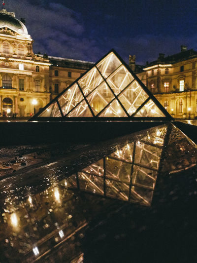 Reverted City City Street EyeEm Best Shots EyeEm Premium Collection LINE Light Night Lights Paris Pyramid Shape Archirecture Building Built Structure Europe Geometry Masterpiece Night No People Reflection Streetphotography Tourism Travel Destinations Triangle Urban World Places