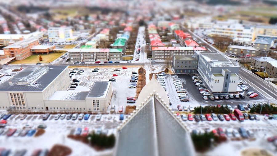 Tilt-shift image of cityscape during winter