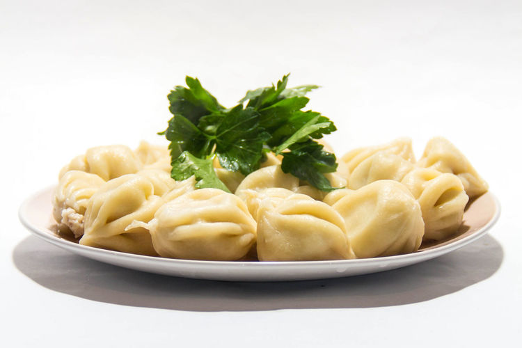 Food On A Plate Greenery Appetizer Chinese Dumpling Close-up Cook Food Dumpling  Dumplings Food Food And Drink Freshness Healthy Eating Indoors  No People Plate Ready-to-eat White Background