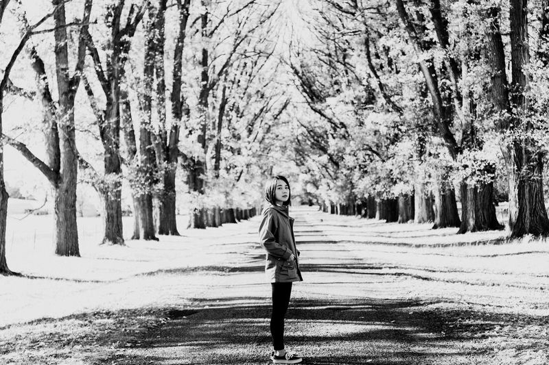 Blackandwhite Travel Portrait People Real People One Person Snow Plant Tree Lifestyles Full Length Cold Temperature Standing Leisure Activity Winter Nature Day Land Walking Outdoors Covering Beauty In Nature Field Warm Clothing The Portraitist - 2019 EyeEm Awards The Traveler - 2019 EyeEm Awards