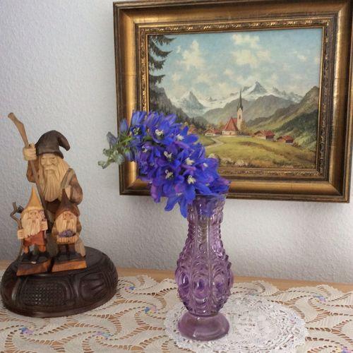 Decoration Delphinium Flower Lace No People Oil Paintings  Purple Wood Carving