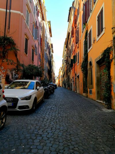 streets of rome Rome Italy🇮🇹 Travel Photography Travel Eye4photography  EyeEmNewHere Nopeople Citylife Sunny Streetphotography Street City Road Car Street Architecture Sky Building Exterior Built Structure