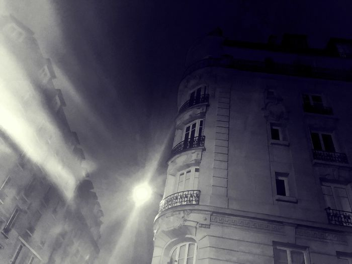 Paris mist Dramatic Angles Monochrome Urban Skyline Light And Shadow Winter Cold Paris Architecture Built Structure Building Exterior Low Angle View No People Sky Window Illuminated Night City