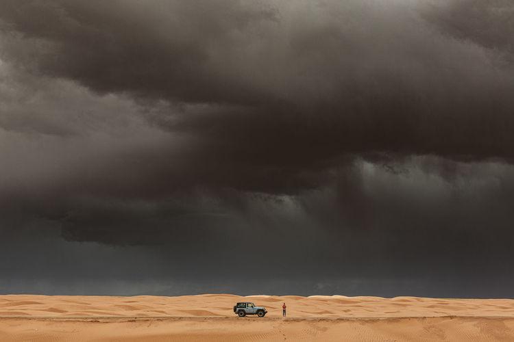 Storm clouds over desert