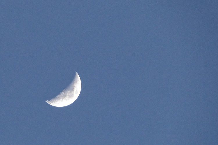 Low angle view of half moon against clear sky at night