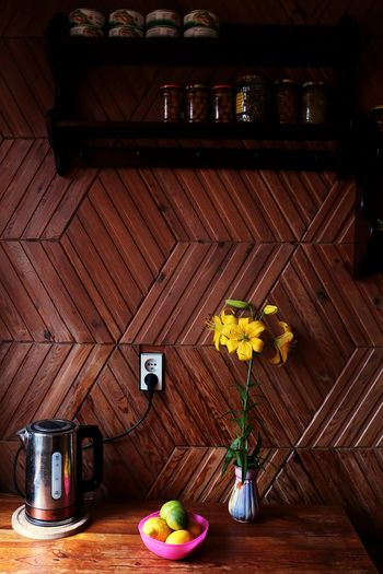 Kitchen Rustic Style Rustic Home Home Sweet Home Home Flower Wood - Material Table Vase Brown Citrus Fruit Lemon