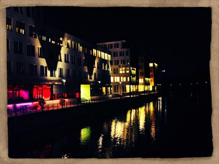 Hamburg Night Lights Riverside Winterhude