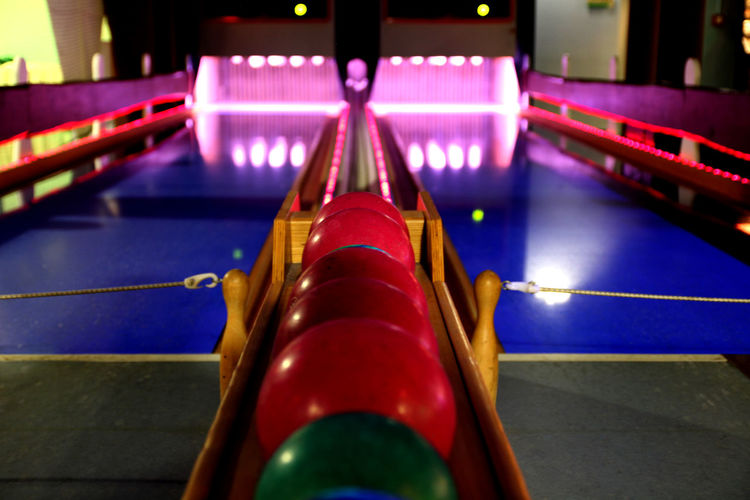 Available Light Bowling Bowling Shoes Illuminated Indoors  Low Light Ninepins No People Skittles Sport