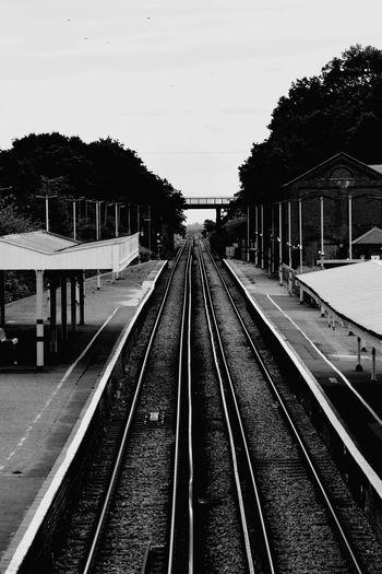 Railroad Track Rail Transportation Public Transportation Railroad Station Platform Sky