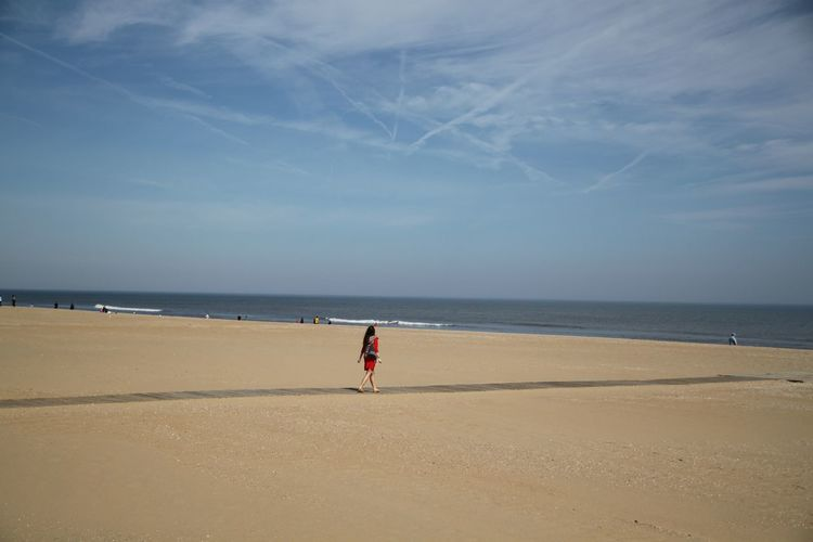 Beach Walk Beach Time Travel USA Virginia Beach Beach Beachphotography Beauty In Nature Full Length Horizon Over Water Nature Ocean One Person Sand Scenics Sea Sky Tranquil Scene Tranquility Vacations Walking On The Beach Water Young Women Visual Creativity