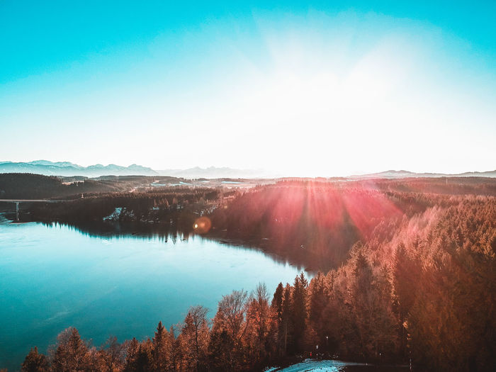 Tranquility Tranquil Scene Scenics - Nature Sky Beauty In Nature Water Mountain Landscape Environment Nature Non-urban Scene No People Day Tree Lake Idyllic Sunlight Clear Sky Sun Lens Flare Outdoors Bright Dji Dji Spark Spark Drone  Dronephotography Droneshot