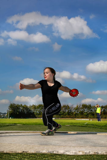 C.I.T Cork Institute Of Technology Cork, Disability  Discus Thrower,disable,athlete,at Excercise Outdoors Skies,sky,blue Sky, Sky Sport Sports Photography Sucess Throwing