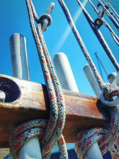 A Variety Of Ropes Ready To Be Hoisted Up & Down Rope Art RopeByTwistedView Eye4photography  Ropes Abstract Close-up Abundance Perspective From My Point Of View EyeEm Dockside Diminishing Perspective Outdoors Blue Sky Eyeemphotography Weathered Hoisting Sailing Boatswain Macro
