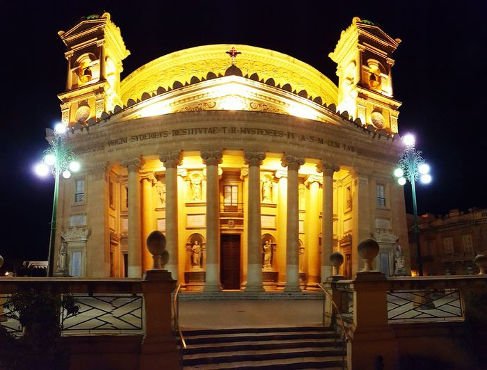 The amazing church in Malta.... where my roots ate from :) Night Architecture Travel Destinations Building Exterior No People Built Structure Illuminated Church