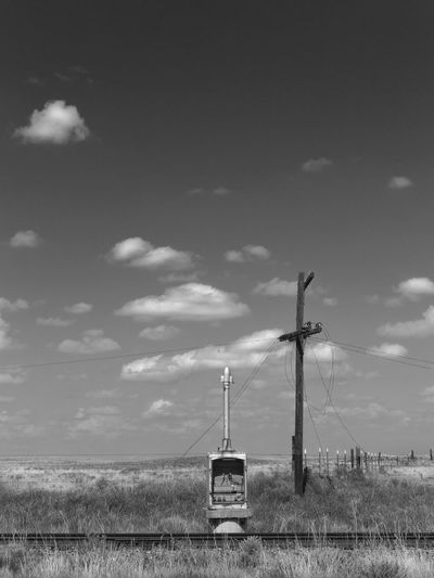 Lines Black And White Cloud Cloud - Sky Desert Scrub High Plains Journey No People Outdoors Prairie Railroad Railroad Switch Box Railroad Track Sky Telegraph Telegraph Pole