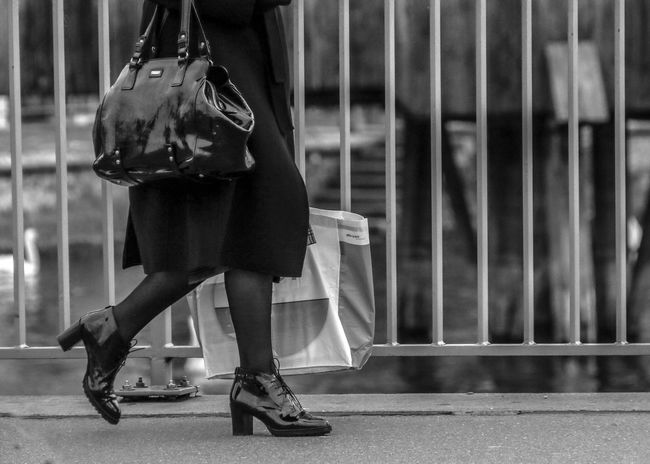 High Heels Shoppingbag People Walking  Bridge Over Water Black And White Photography Purchases Streetphotography EyeEmNewHere Fashion Stories