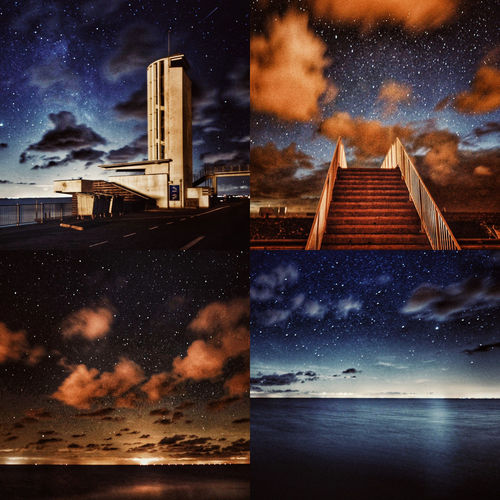 Digital composite image of illuminated buildings against sky at night